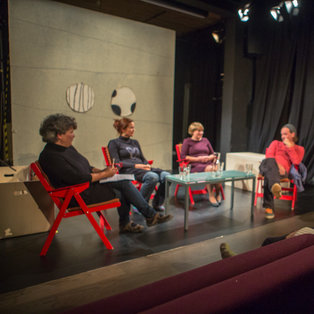 Public rehersal and conversation about the performance The Naughty Pigs <em>Photo: Boštjan Lah</em>